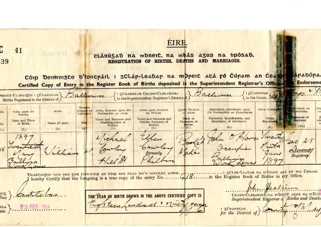 William's Birth Certificate